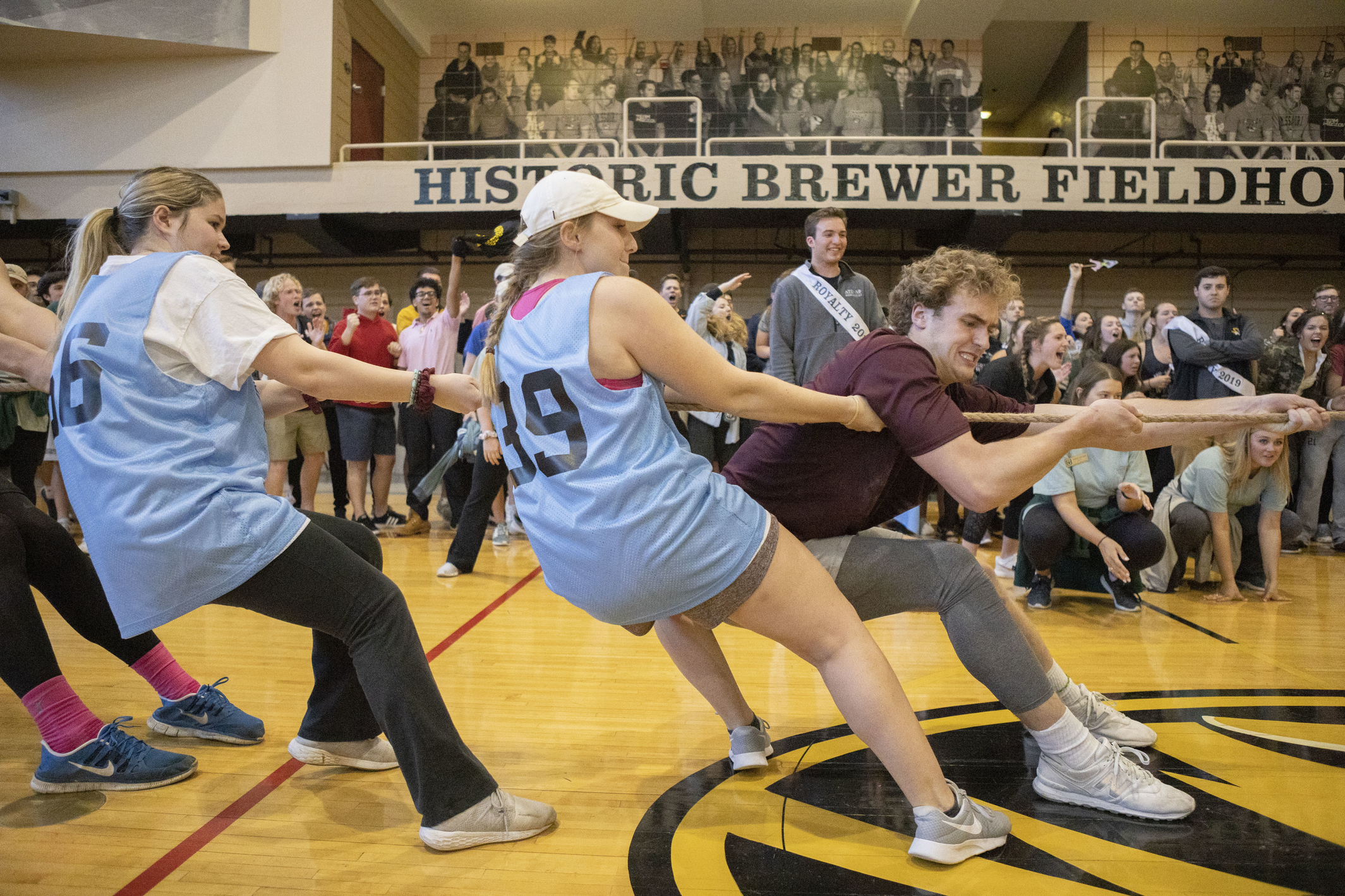 Greek Week Tug of War at the MizzouRec on Sunday, April. 14, 2019. Monique Woo/University of Missouri