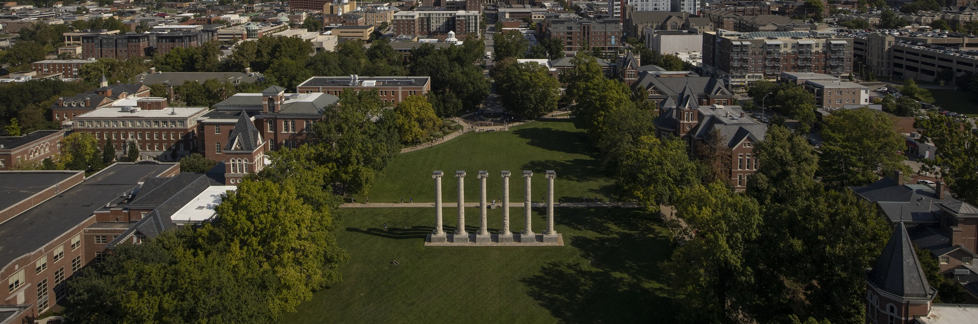 View of the University of Missouri campus atop Jesse Hall
